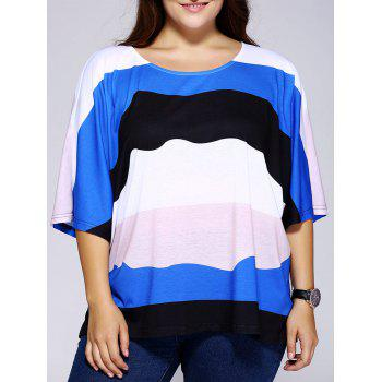 Casual Scoop Neck Loose-Fitting Color Block Stripe Top For Women
