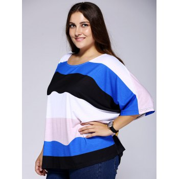 Casual Scoop Neck ample Color Block Stripe Top pour les femmes - multicolorcolore 4XL