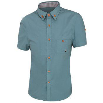 One Pocket Solid Color Short Sleeves Men's Button-Down Shirt