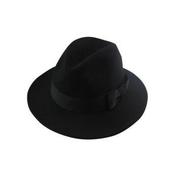 Chic Solid Color Bowknot Wide Brim Felt Fedora Hat