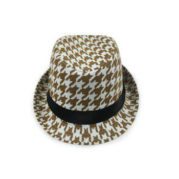 Chic Houndstooth Fedora Hat - COFFEE