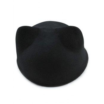 Chic Solid Color Cat Ear Hat - BLACK