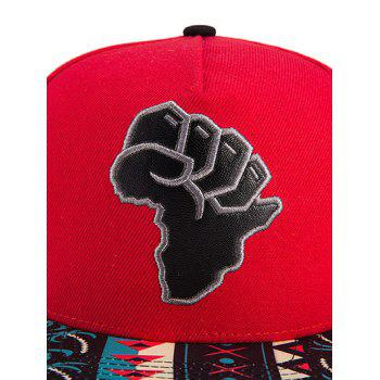 Chic African Map Split Leather Coconut Tree Print Snapback Hat - RED