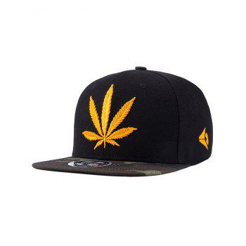 Chic Hemp Leaf Letters Embroidery Camouflage Pattern Snapback Hat