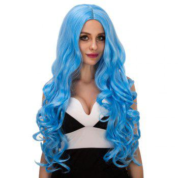 Charming Women's Long Fluffy Wavy Middle Part Lake Blue Synthetic Capless Cosplay Wig - LAKE BLUE