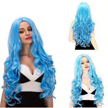 Charming Women's Long Fluffy Wavy Middle Part Lake Blue Synthetic Capless Cosplay Wig