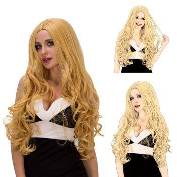 Charming Women's Long Fluffy Wavy Middle Part Golden Synthetic Capless Cosplay Wig