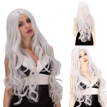 Fashion Women's Long Fluffy Wavy Middle Part Silver White Synthetic Capless Cosplay Wig