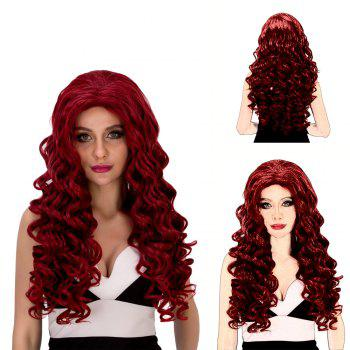 Vogue Women's Long Loose Curly Wine Red Synthetic Capless Cosplay Wig