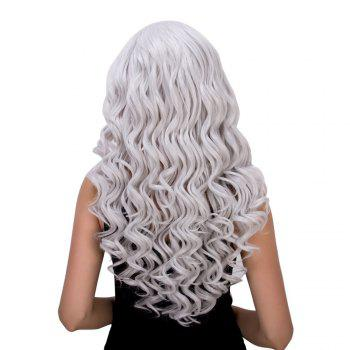 Vogue Women's Long Loose Curly Silver White Synthetic Capless Cosplay Wig - SILVER WHITE