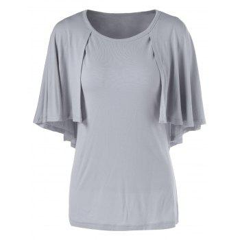 Round Neck3 4 Sleeve Solid Color Loose Fitting T Shirt