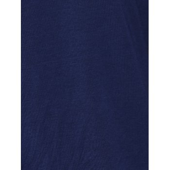 Simple Cut Out Solid Color T-Shirt For Women - DEEP BLUE L