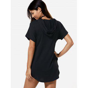 Hooded Asymmetric Summer Casual Dress With Sleeves - BLACK XL