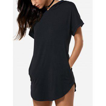 Hooded Asymmetric Summer Casual Dress With Sleeves