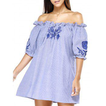 Buy Shoulder Blue Stripe Embroidered Frilly Loose Dress STRIPE