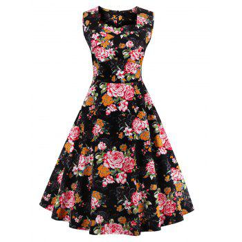 Retro Sleeveless Floral Tea Length Skater Dress