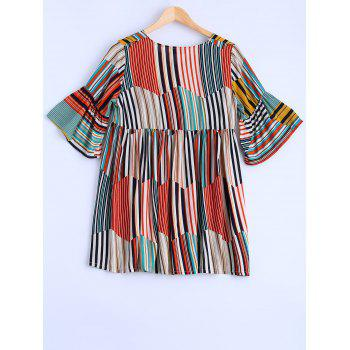Plus Size Sweet Colorful Striped Blouse - COLORMIX COLORMIX