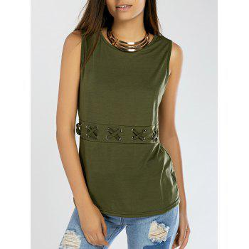 Lace-Up Pure Color Tank Top