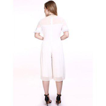 Surdimensionné Séduisante See-Through Wide Leg Jumpsuit - Blanc L