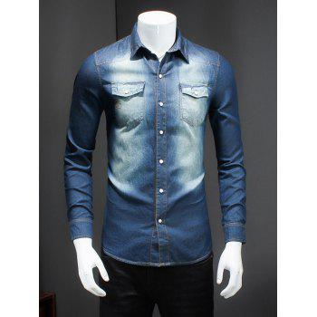 Plus Size Turn-Down Collar Bleach Wash Long Sleeve Men's Denim Shirt