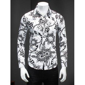 Turn-Down Collar Plus Size 3D Geometric Flower Print Long Sleeve Men's Shirt