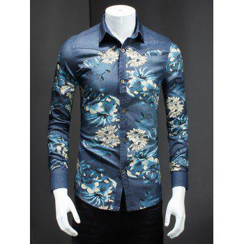 Plus Size Turn-Down Collar 3D Flower Print Long Sleeve Men's Denim Shirt