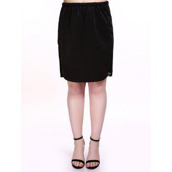 Plus Size Brief Mesh Splicing Black Skirt