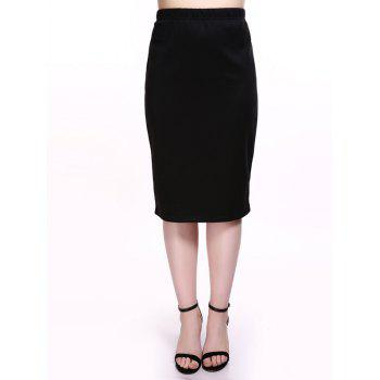 Plus Size Brief Midi Black Bodycon Skirt