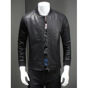Buy Plus Size Rib Splicing Stand Collar Long Sleeve Men's PU-Leather Jacket BLACK