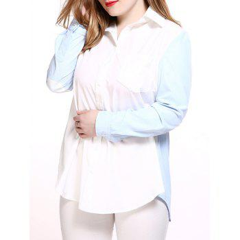 Plus Size Chic Color Block Boyfriend Shirt