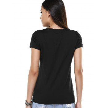 Black Pattern Design Sequined T-Shirt - BLACK ONE SIZE