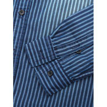 Striped Turn Down Collar Long Sleeve Men's Chambray Shirt - DEEP BLUE 2XL