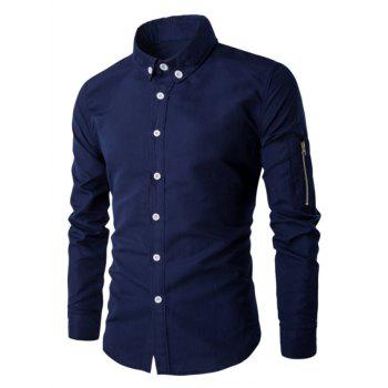 Zippered Solid Color Long Sleeve Men's Button-Down Shirt