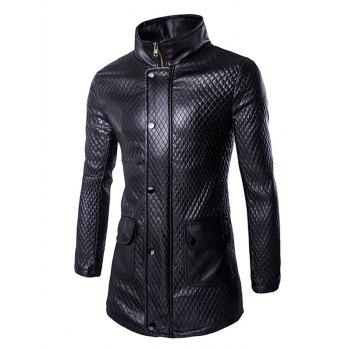 Retro Style Pocket Design Funnel Collar Leather Coat For Men