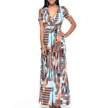 Plunging Neck Print Wrap Dress