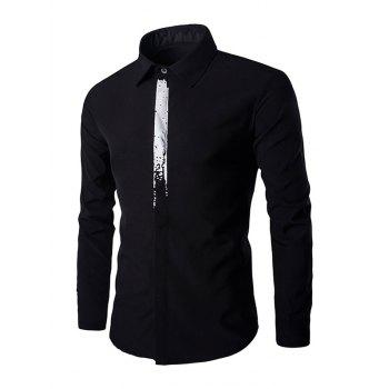 Chic Color Block Concealed Placket Long Sleeves Shirt For Men