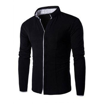 Thin Piping Placket Stand Collar Long Sleeve Shirt For Men