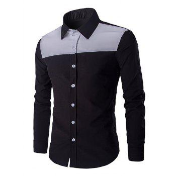 Casual Color Block Spliced Turn-Down Collar Long Sleeve Shirt For Men