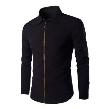 Chic Zipper Openning Turn-Down Collar Long Sleeves Shirt For Men