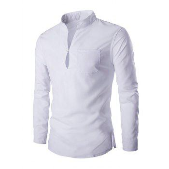 Brief Pure Color Mandarin Collar Long Sleeve Pullover Shirt For Men