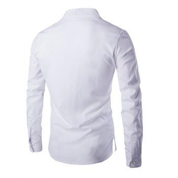 Brief Pure Color Mandarin Collar Long Sleeve Pullover Shirt For Men - WHITE XL