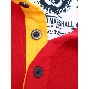 Color Splicing Letter Snowflake Print Embroidered Patch Men's Polo Shirt - RED 2XL