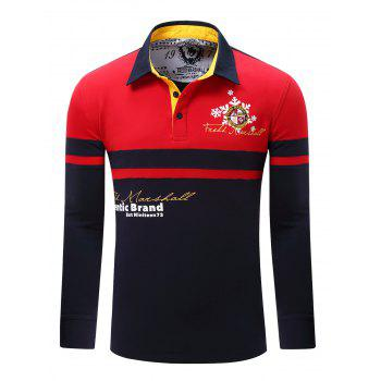 Color Splicing Letter Snowflake Print Embroidered Patch Men's Polo Shirt