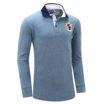 Turn Down Collar Embroidered Patch Men's Long Sleeve Polo Shirt - DENIM BLUE XL