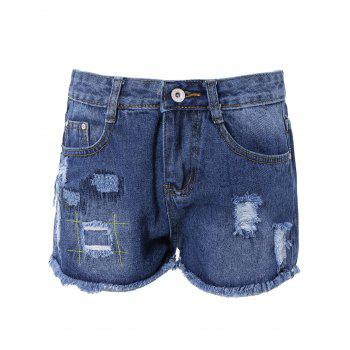 Chic Broken Hole Pocket Design Women's Denim Shorts