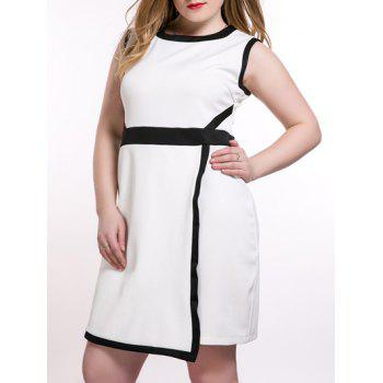 Oversized OL Style Color Block Overlay Dress