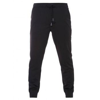 Drawstring Waistband Black Jogger Pants For Men