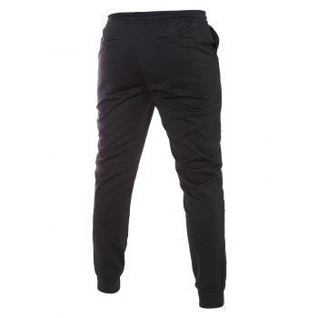 Bottom Zipper Design Drawstring Waistband Jogger Black Pants For Men - BLACK 2XL