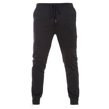 Bottom Zipper Design Drawstring Waistband Black Jogger Pants For Men