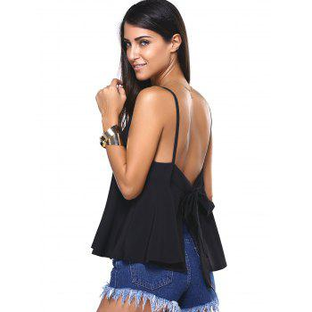 Bowknot Backless Slit Cami Top - BLACK 5XL